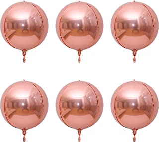 Luvier 6 Count 18inch Rose Gold Round Sphere Shaped Aluminum Foil 4D Balloons Reusable Silver Party Balloons for Wedding Marriage Birthday Baby Shower Decor (18inch-Rose Gold)