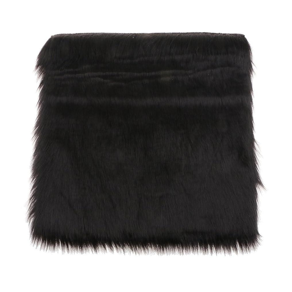 良心的眉をひそめるケニアFenteer 人工シープスキン ラグ エリアラグ 柔らかい 床カーペット ソフト シート クッション 多色選べる - ブラック