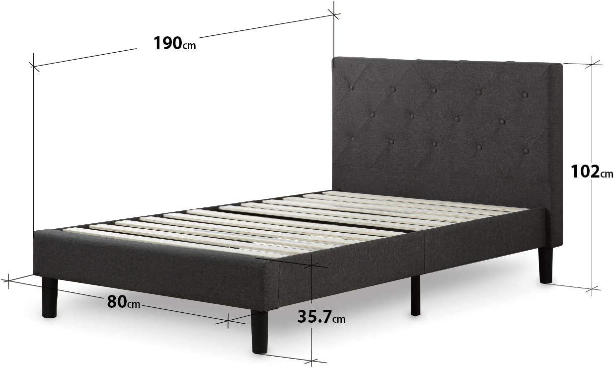 Zinus Shalini Struttura letto trapuntata con imbottitura Letti Con Piattaforma// Non sono necessarie le molle// Supporto resistente in legno per letto// Montaggio facile// 120 x 190 cm