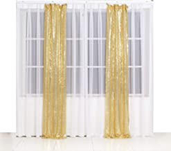 SquarePie Sequin Backdrop 2FT x 8FT 2pcs Gold Photo Booth Photography Background Sparkly Curtain Video Live Selfie Wall for Wedding Patry Decoration