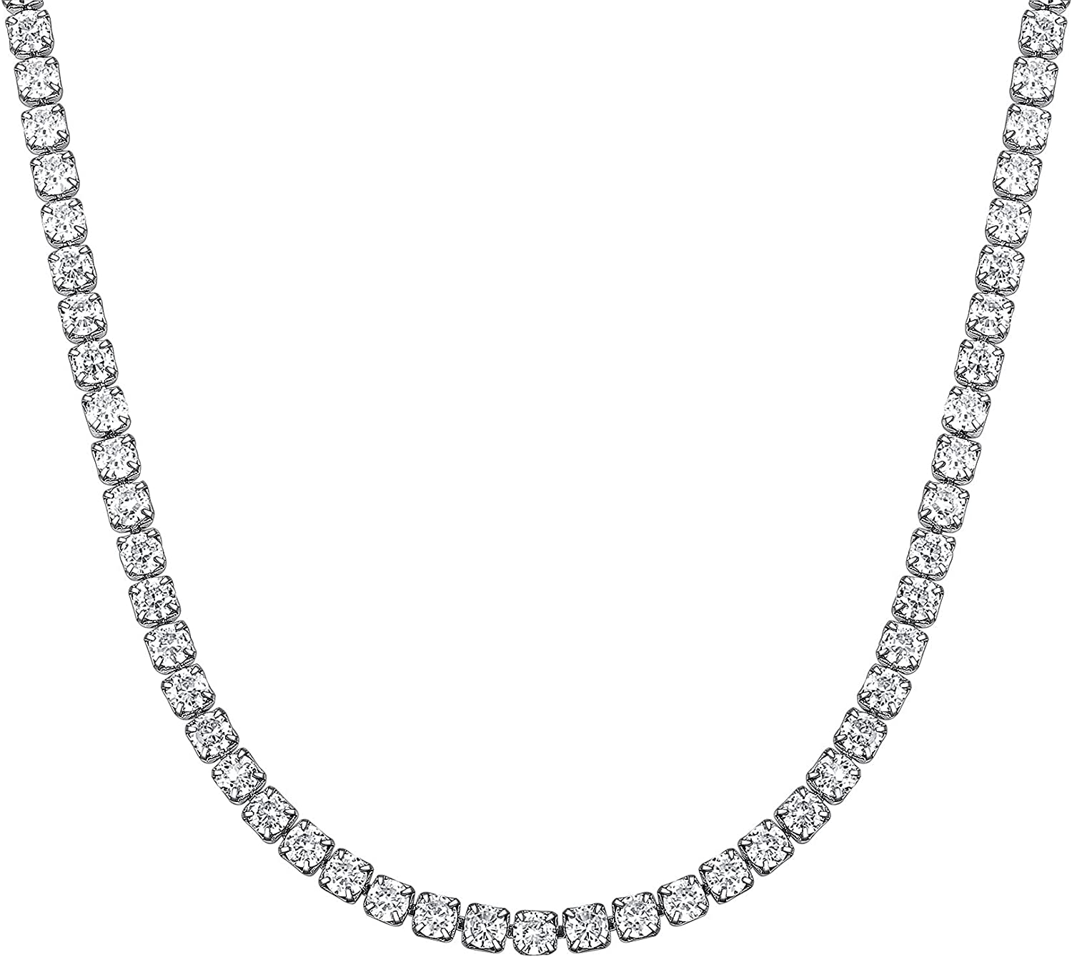 Richsteel Clear/Black 3mm Cubic Zirconia Tennis Chain Necklace for Women and Men 16/18 Inch Stainless Steel/Gold Plated Jewelry(with Gift Box)