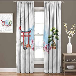 GUUVOR Japan 99% Blackout Curtains Torii Gate Bonsai Tree Cherry for Bedroom Kindergarten Living Room W72 x L108 Inch