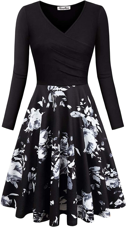 KASCLINO Women's Floral Printed Dress, A Line Long Sleeve VNeck Elegant Dress with Pockets