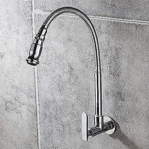 Grifo de cobre, fregona giratoria Universal para piscina, grifo de cocina fría individual, fregadero de pared, boquilla giratoria de temperatura única, grifo de agua