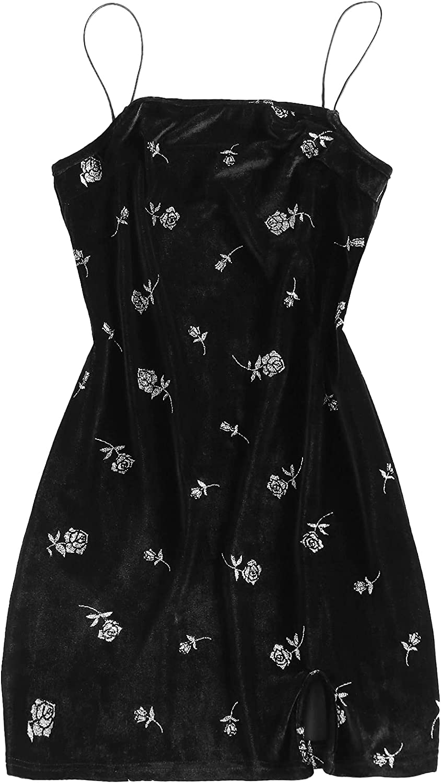 Women's Spaghetti Straps Side Slit Mini Dress Sexy Butterfly Cami Bodycon Dress