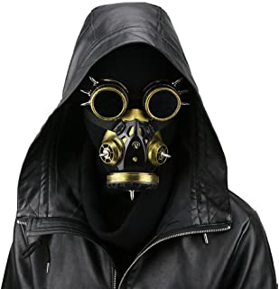 In Black Devil Horns Rivets Gas Mask Respirator Cyber Goth Cosplay Spikes Masks For Party Halloween Accessories Novel Design;