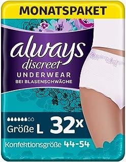 Always Discreet Inkontinenz Pants Gr. L 32 Höschen Monatspaket, diskreter Schutz & hohe Saugstärke, geruchsneutralisierend, 4 x 8 Stück Verpackung kann variieren