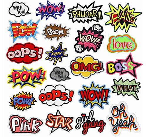 22 piezas Patch Sticker, Parches Ropa Termoadhesivos, Parches ropa, DIY Coser o Planchar en Los Parches Apliques para Ropa Camiseta Jeans Sombrero Pantalon Bolsas