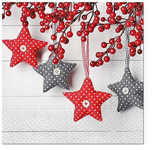 Servilletas de papel de Navidad de 3 capas para decoupage de 33 cm x 33 cm, paquete de 20 estrellas gris-rojas