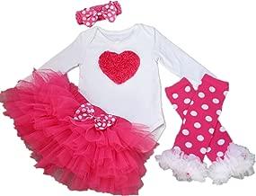 AISHIONY Baby Girl 1st Christmas Tutu Outfit Newborn Princess Party Dress 4PCs