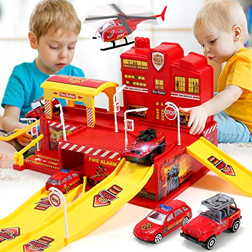 Politie Garage in Brand Vrachtwagen Politie Auto Educatief Speelgoed Voor Kinderen 3D-Legering Auto Vliegtuigen Set Jongen En Meisje Van 6 Jaar En Ouder