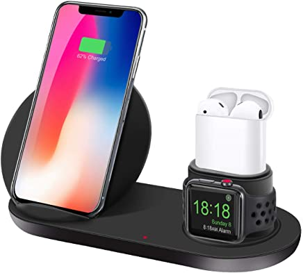 aphqua Qi ワイヤレス充電器 急速 3 in 1充電スタンド apple watch スタンド Airpods/Apple Watch充電器 iPhone X/XS/XR/XS Max/ 8/8 Plus Qi 7.5W急速充電対応 Galaxy S9/S9 Plus/Note8/S8/S8 Plus/S7/S7 Edge/S6 Edge Plus 10W対応 その他Qi対応機種も適用 黒