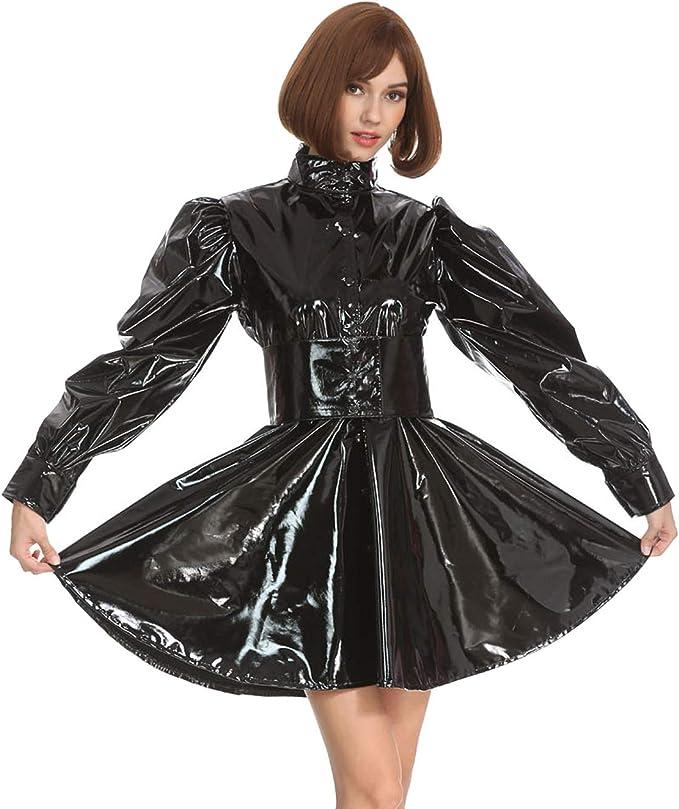Gocebaby Frauen Sissy Gotisch Punk Schwarz Pvc Ball Gewand Kleid Uniform Crossdress Amazon De Bekleidung