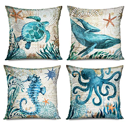 FAREYY Decorative Set of 4 Throw Pillow Covers 18x18 Inch Ocean Mediterranean Vintage Whale Nautical Watercolor Painting Sea Turtle Seahorse Octopus Pillowcases Home Decor Cushion Cases