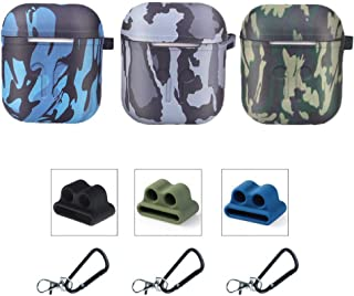 Five Star Online Compatible with Air Pods Case Earpods Cases Protective Cover Silicone Skin, 9 in 1 Accessories with Keychains Carabiners Holders for Air-Pods Earpods,3 Pack (Camouflage)