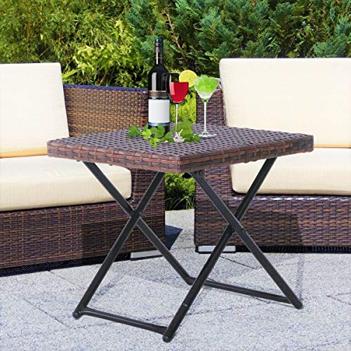 HYGRAD Small Rattan Coffee Table Bistro Folding Furniture Outdoor Side End Garden Patio