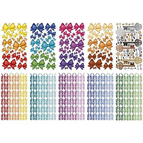 Ideen mit Herz Glimmer-Relief-Sticker, Schleifen & mehr, 11,5x20cm, 10 Stück