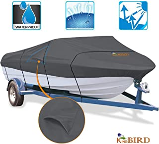 KING BIRD Waterproof Heavy Duty 600D Polyester Boat Cover with Quick-Release Adjustable Buckle, Fits for V-Hull, Tri-Hull, Runabout Boat, Storage Bag Included