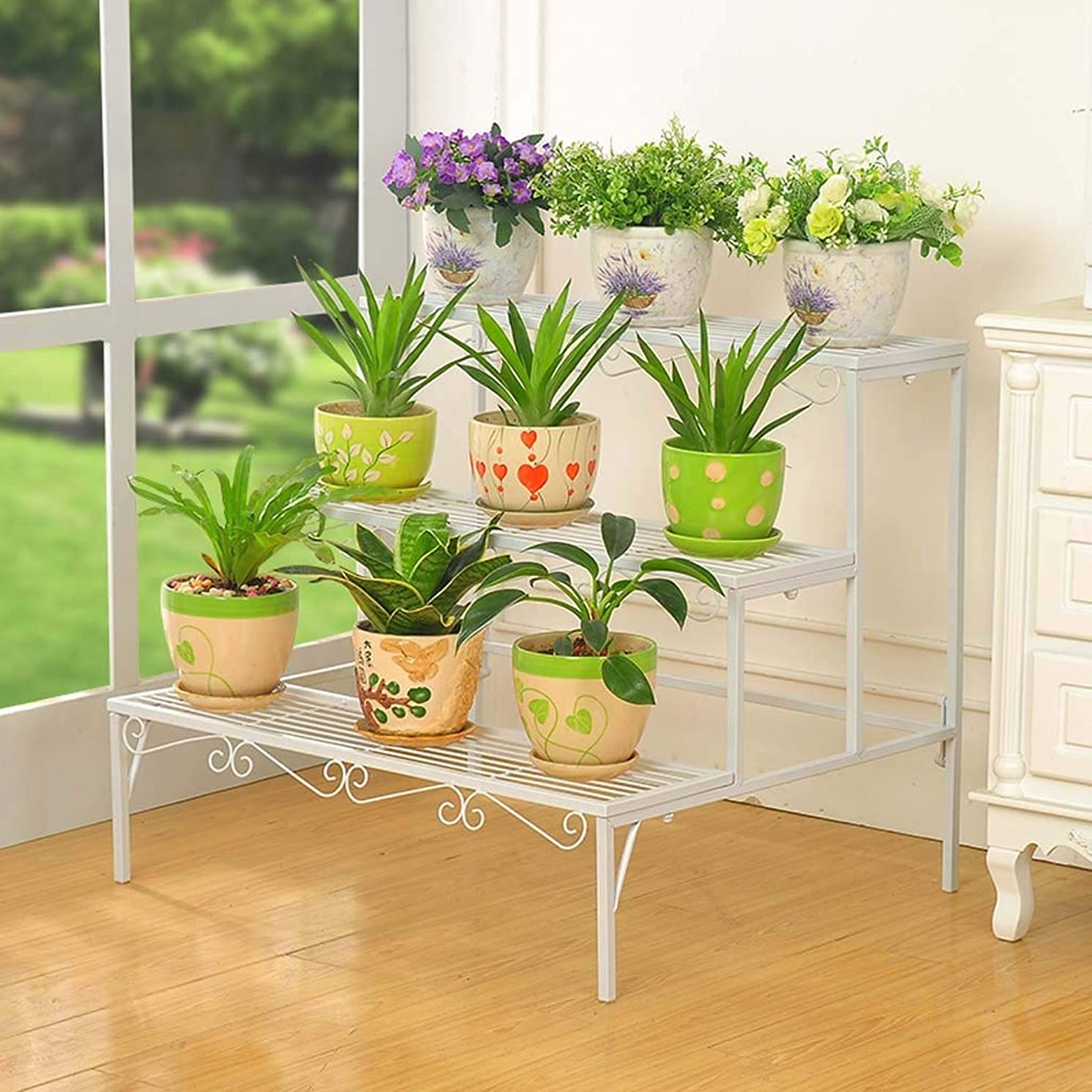 3 Layer Plant Display Stand, Wrought Iron Stepped Flower Pot Rack, Outdoor Garden Living Room Balcony Flower Rack Storage Rack (Color : White)