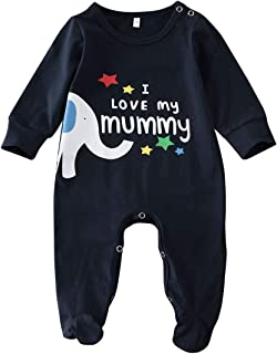 Peaccch Newborn Baby Boys Girls Romper, I Love My Daddy/Mummy Cute Letter Print Long Sleeve Footies Jumpsuit Spring Winter Outfits
