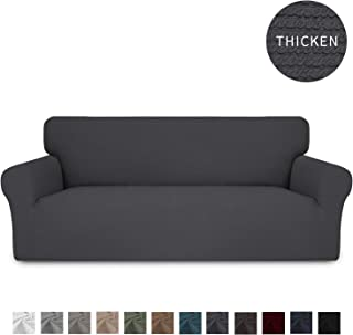 Easy-Going Thickened Stretch Slipcover, Sofa Cover, Furniture Protector with Elastic Bottom, 1 Piece Couch Shield, Sturdy Fabric Slipcover Pets,Kids,Children,Dog,Cat (Sofa,Gray)