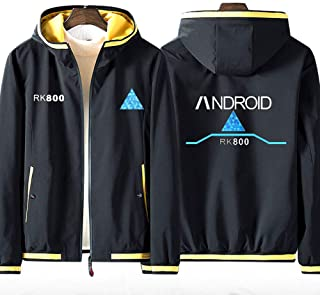 Men's Full Zip Hoodie Detroit: Become Human RK800 Jacket Teen Fashion Coat Comfortable Sport Sweatshirt (No Shirt)