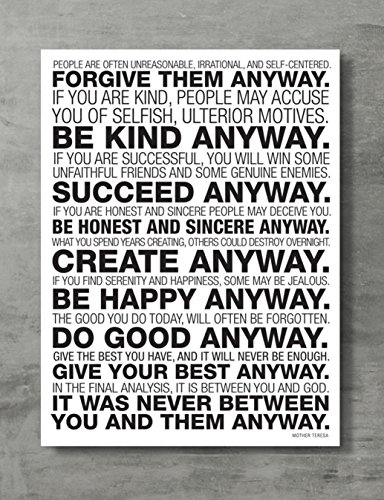 APPLEpie Mother Teresa Anyway Quote Poster High Definition Posters Standard Size 24 x 18 inch