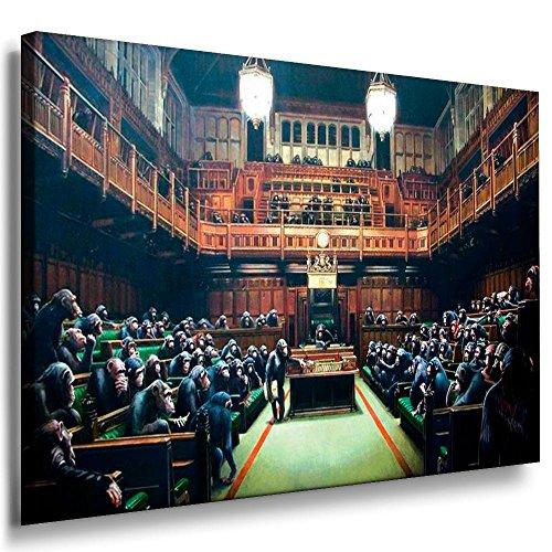 Fotoleinwand24, quadro Banksy Graffiti Art 'Scimmie in parlamento', stampa fotografica su telaio, AA0001, Legno, a colori, 120 x 80 cm