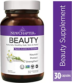 Hair Skin & Nails Vitamin, New Chapter Beauty Supplement for Hair Skin & Nails + Biotin + Gluten Free - 30ct (1 Month Supply)