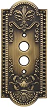 House of Antique Hardware R-010SE-284-AB Como Single Push-Button Switch Plate in Antique Brass