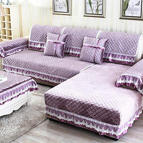 hoes hoekbank, vier seizoenen bankkussen, Italiaanse fleece antislip bankhoes-purple_45 * 70 handkussen, elastische meubelbeschermer