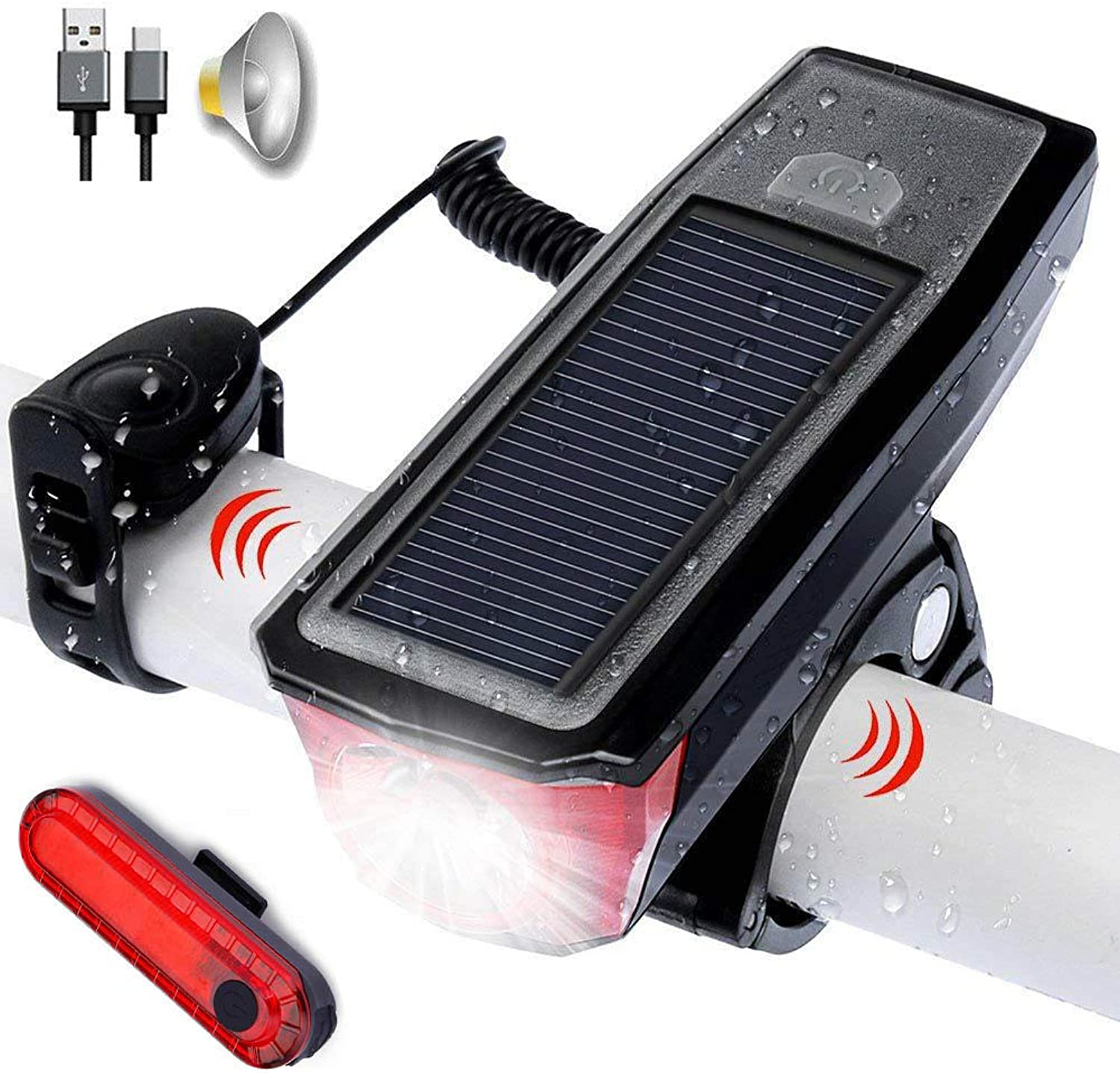 USB Rechargeable Solar Bicycle Light Mountain Bike Front Light with Speaker USB Rechargeable Taillight Set