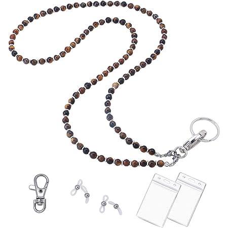 Black and Clear Beaded ID Badge Lanyard Lightweight Beaded Chain ID Badge Holder