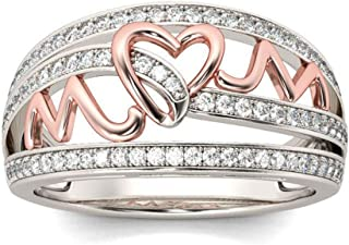 ✔ Hypothesis_X ☎ Engagement Rings for Women, Heart Ring Silver Rhinestone Ring Elegant Triple Rings Mother's Day