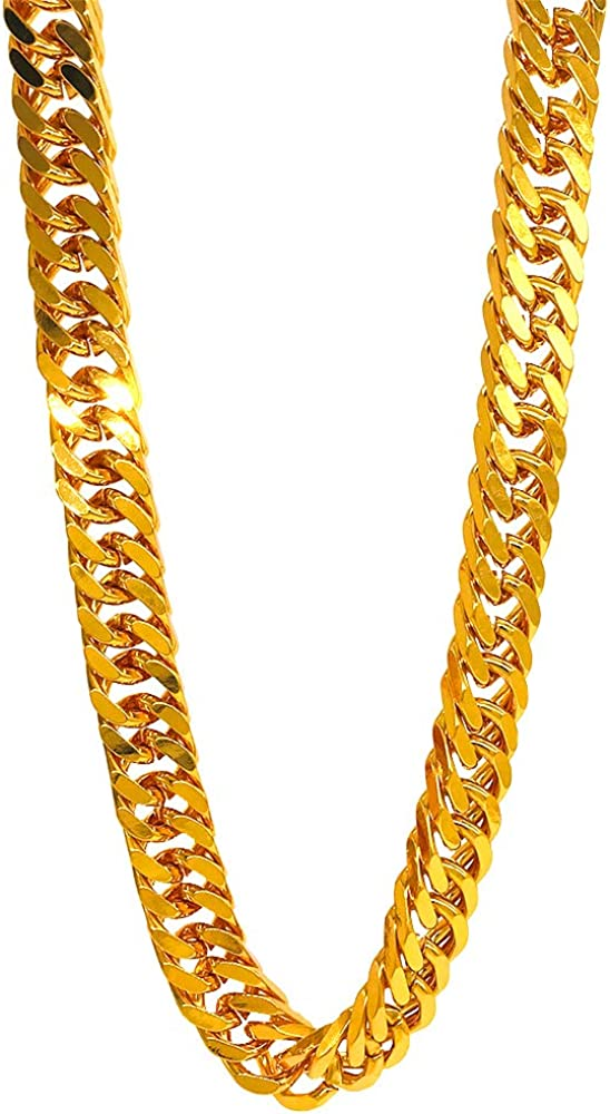 TUOKAY Heavy Big Chunky Hip Hop Gold Chains Long Fake Big Gold Chain Costume 16mm Thick Square Double Cuban Curb Link Chain