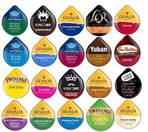 20 TASSIMO T-Disc Variety Sampler! 20 unique varieties! Tim Horton