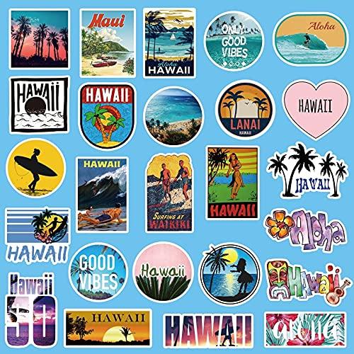 Etiquetas engomadas al aire libre de Hawaii Surfing verano tropical playa surf impermeable DIY tabla de surf coche skate calcomanía 50 unids