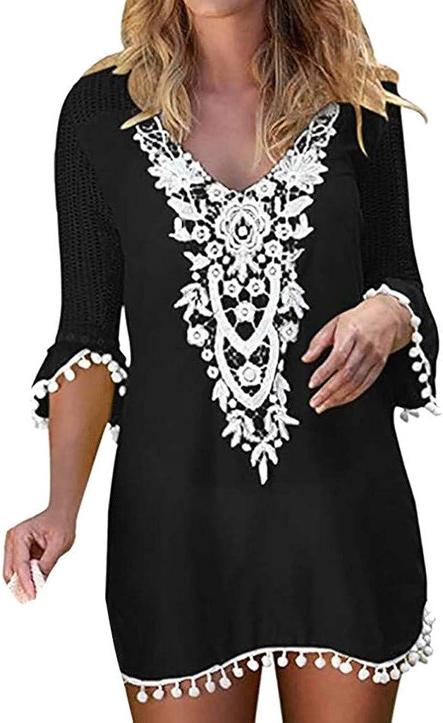 Wulofs Swimsuit Cover Up Womens Crochet Chiffon Tassel Bikini Pom Pom Trim Swimwear Beach Dress