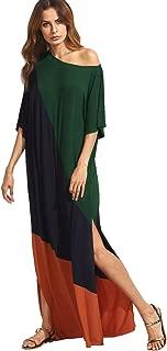 Women's Summer Color Block Side Split Loose Maxi Long Dress
