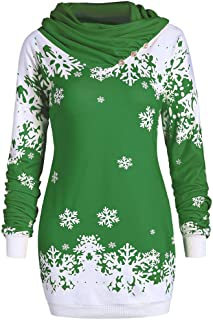 WUAI Womens Ugly Sweater Pullover Christmas Sweatshirt Snowflake Pattern Cowl Neck Fashion Slim Fit Vacation Tops