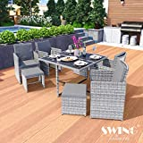 Swing & Harmonie Polyrattan Sitzgruppe Esstisch Lounge Sitzgarnitur Essgruppe Gartenmöbel Set (9-Teilig, Grau)
