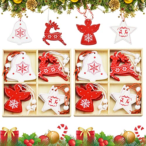AFASOES 24 Pcs Colgante de Madera Navideño para Árbol de Navidad Adornos Arbol Navidad Madera Colgantes Navideños para Árbol Colgante de Madera para Decoración Navideña Colgante para Arbol de Navidad
