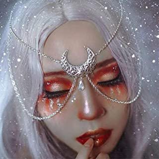 Aimimier Bohemian Moon Head Chain Crystal Teardrop Head Chain Halloween Belly Dancer Forehead Jewelry for Women and Girls...