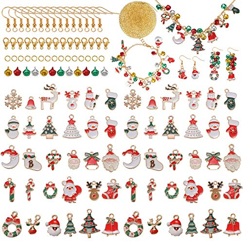 60 Pieces Christmas Pendant Charm Kit, Enamel Christmas Charms with 200 Pieces Christmas Bells, Jewelry Accessories for Christmas Necklace Bracelet Earring Jewelry Making Crafting