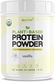 Pure Food: Plant Based Protein Powder with Probiotics | Organic, Clean, All Natural, Vegan, Vegetarian, Whole Superfood Nu...