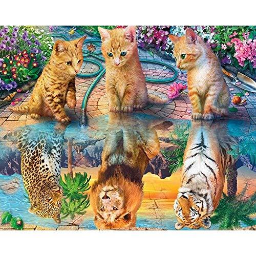 ZXDA Frameless Lindo Perro Imagen DIY Pintura por números Animales Moderno Cuadro de Arte de Pared Pintura acrílica sobre Lienzo A8 60x75cm