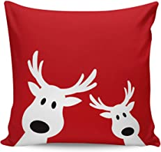 Cute Reindeer Peeking Red Throw Pillow Cases Decorative Merry Christmas Cushion Covers for Home Sofa Car 18x18 Inch- Merry Xmas Gifts Idea