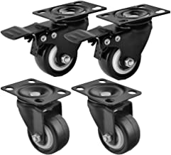 Qrity Heavy Duty Castor 50mm,2 inch, Castors/Caster Wheels 2 x Swivel, 2 x Brake, Load Capacity 60kg/Unit
