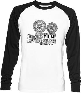 Película Cámara Tipografía Unisex Blanca De Béisbol Camiseta Hombre Mujer Baseball T-Shirt