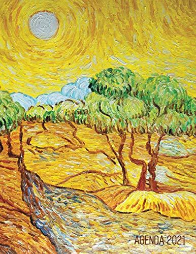 Vincent van Gogh Planificador Diaria 2021: Olivos con Cielo Amarillo y Sol | Agenda 2021: Enero a Diciembre | Post Impresionismo | Ideal Para la Escuela, el Estudio y la Oficina | Pintor Holandés